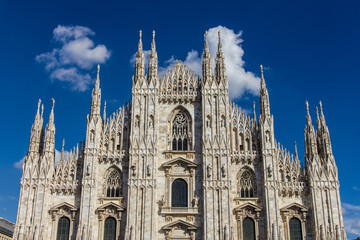 The Milan marble cathedral under blue sky