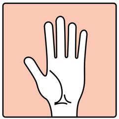 Hand palm. Hand vector illustration. Hand palm silhouette line drawing.