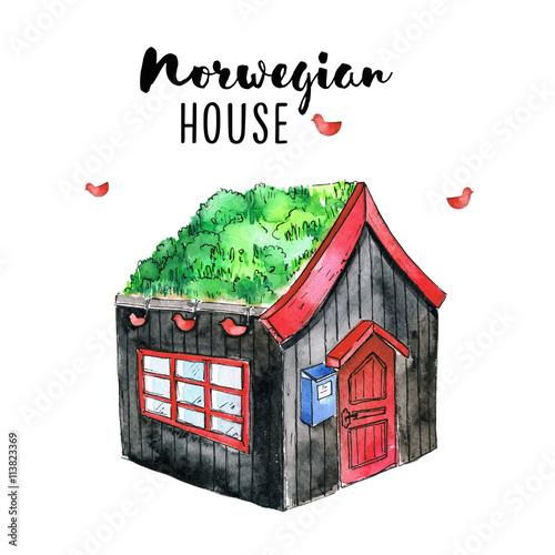 Norwegian wood house in watercolor imagens e fotos de stock royalty free no - Norwegian wood houses ...