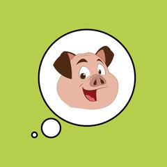 Animal design. pig icon. Isolated illustration, white background