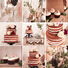 Collage of nine images with wedding celebration: cake, cupcakes, decorations. Wedding day.