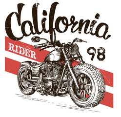 illustration sketch motorcycle california t shirt prints