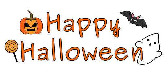 cute happy halloween text banner with ghost, bat, pumpkin and candy
