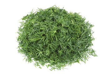 Dill herb chopped on white