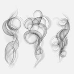 Set of translucent gray smoke. Transparency only in vector file