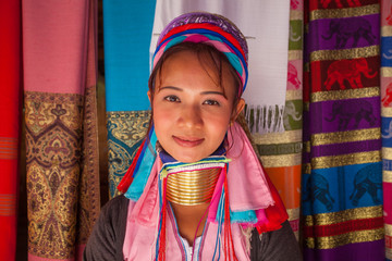 Long Neck woman in traditional costumes