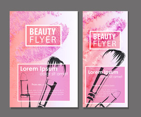 Female pink flyer. Beauty business card set.
