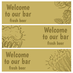 Hand drawn banners with beer in glass mug with text Beer and hop