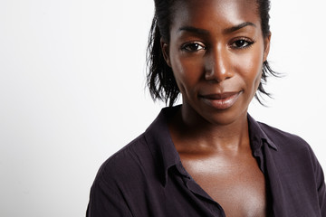 black woman with an ideal oily shiny skin