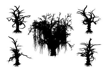 Halloween Scary Trees,  Vector Illustration set .