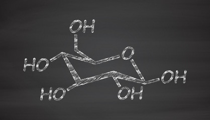 Glucose (D-glucose, dextrose) grape sugar molecule.