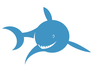Vector print for t-shirt. Shark on a white background