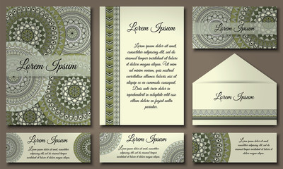 Invitation card collection. Ethnic decorative elements. Islam, Arabic, Indian, ottoman motifs.