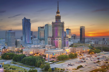 Warsaw. Image of Warsaw, Poland during twilight blue hour. Wall mural