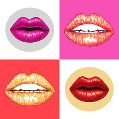 Beautiful sexy lips with white teeth on a pink background. Female lips drawing. Handwork. Seamless pattern for design