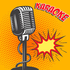 Karaoke. Old style microphone on pop art style background. Vecto