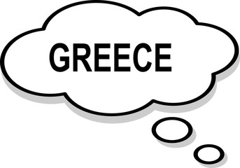 Greece word text thinking bubble text white background