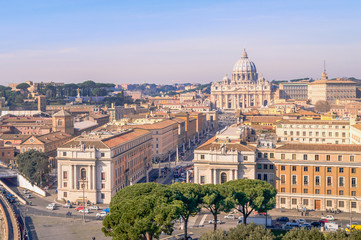 Vatican and St Peters' basilica in Rome
