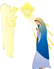 Annunciation to the Blessed Virgin Mary, conception by the Holy Spirit. Abstract color vector illustration, with a dove and angel.