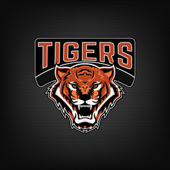 Tigers. Emblem with angry tiger head. Sport team logo template.