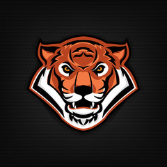 Emblem with tiger head. Sport team logo template.