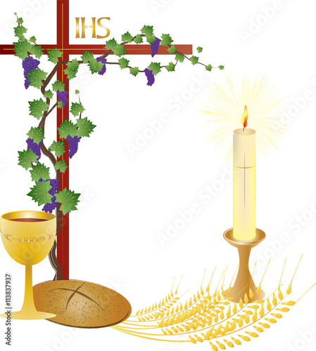 Eucharist Symbols Of Bread And Wine Cross Chalice And Host With