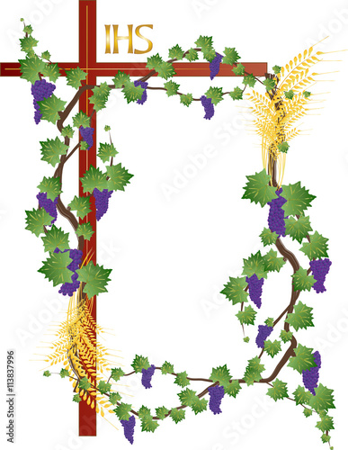 Eucharist Symbols Of Bread And Wine Wheat Ears Grapes And Vine On