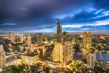 Bangkok cityscape with twilight sky view of business area