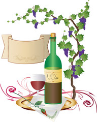 A bottle of red wine with a glass and a grapes vine, abstract color illustration with vintage scroll with copy space for text.