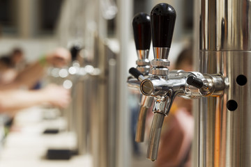 Bright metal beer tap