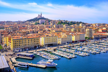 View of the historical old town of Marseilles, France Fotomurales