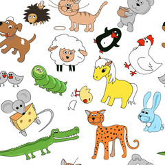 Childrens drawings seamless pattern with animals. Whale and leopard, caterpillar and mouse, sheep and crocodile, vector illustration