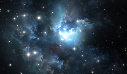 Giant glowing nebula. Space background with blue nebula and stars
