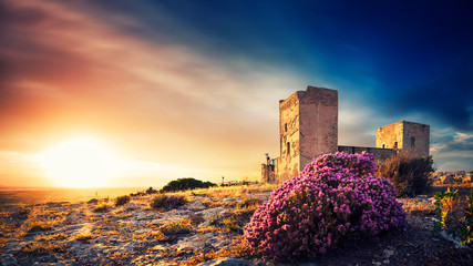 Ancient Castle at sunset