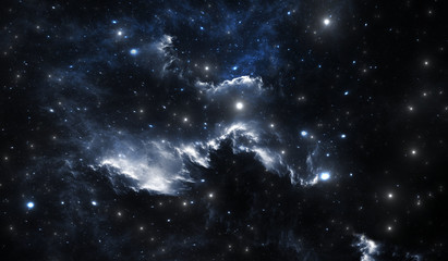 Blue space star nebula. Space background with blue nebula and stars