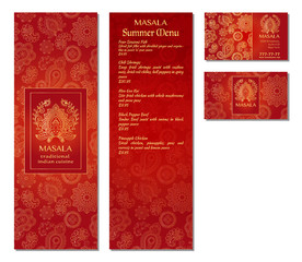 Vector illustration of a menu card template design for a restaurant or cafe Indian oriental cuisine. Asian, Arab and Lebanese cuisine. Business cards and vouchers. Logo - traditional indian flower.