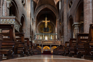 Interior of the Modena Cathedral, consecrated in 1184. The cathedral is an important Romanesque building in Europe and a UNESCO World Heritage Site since 1997.