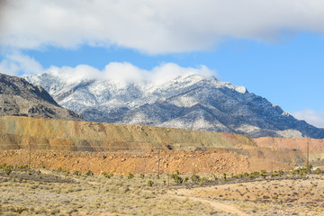 Viewing the Desert Landscape, Nevada snowy sierra  mountains