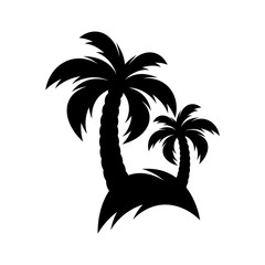 Black vector palm tree icon