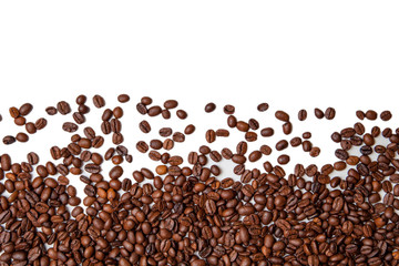 Roasted Coffee Beans background texture isolated on white background with copy space for text. top view
