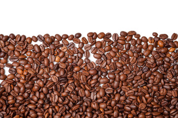 Coffee beans with white background for copy space.