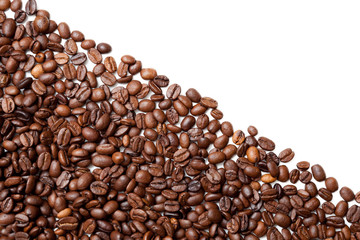 Coffee beans. Isolated on white background.  Coffee background or texture concept.