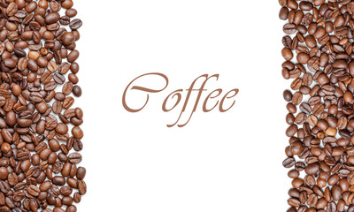 Frame of roasted coffee beans isolated on white may use as background or texture. top view (with easy removable sample text)