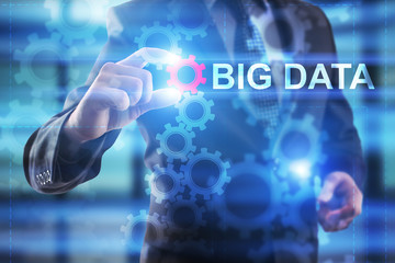 Businessman is selecting Big Data.