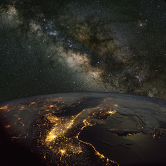 Milky Way over Italy at night. Includes NASA data.