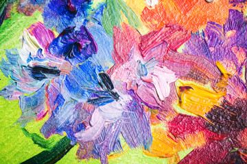 Oil painting, fragment with colorful flowers