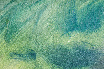 Abstract oil painting, green background fragment