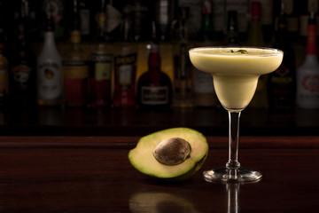 Avocado cocktail in margarita glass.