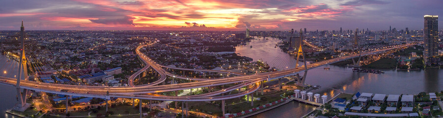 beautiful aerial view of bangkok dramatic sky at bhumiphol bridg