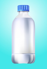 Plastic bottle of drinking water isolated on blue